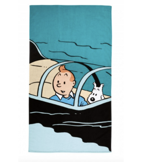 Serviette de Plage Tintin Enfant - Sous-Marin Requin 90X160 cm