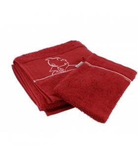 Serviette de Bain + Gant de Toilette Rouge Hermès 50X100 cm
