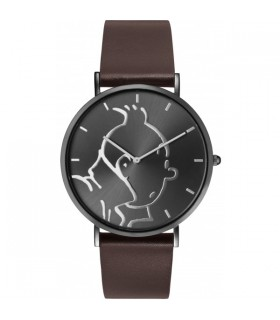 """Montre Cuir Anthracite Classic Personnage Tintin &Co """"M"""""""
